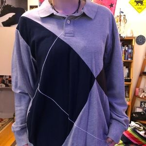 Tri-Color Collared Long Sleeve